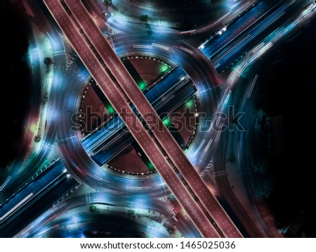 Modern transportation with Expressway, Road and Roundabout, multilevel junction highway-Top view. Important infrastructure. #1465025036