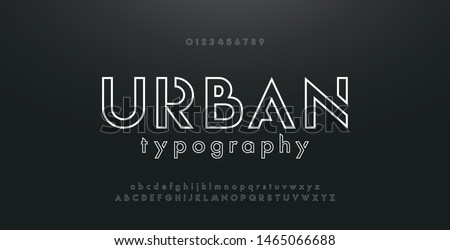 Abstract urban thin line font alphabet. Minimal modern fonts and numbers. Typography typeface uppercase lowercase and number. vector illustration Royalty-Free Stock Photo #1465066688