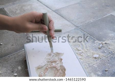 Kid's hands digging dinosaur bones and fossils in digging model #1465122590