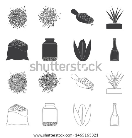 Vector design of crop and ecological symbol. Set of crop and cooking stock symbol for web. #1465163321