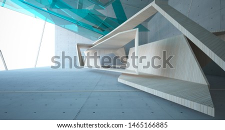 Abstract  concrete, glass and wood interior  with window. 3D illustration and rendering. #1465166885