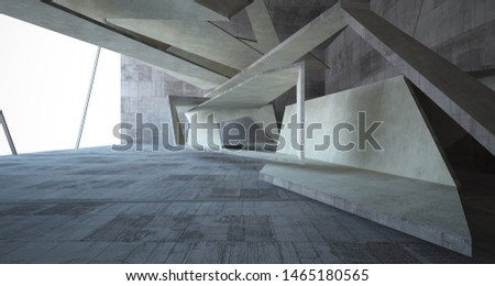Abstract white and concrete interior. 3D illustration and rendering. #1465180565