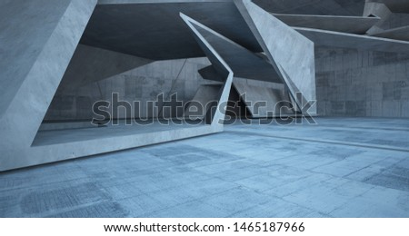 Abstract white and concrete interior. 3D illustration and rendering. #1465187966