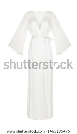 Beautiful luxurious female silk white pajamas robe with belt and long sleeves, front view, clipping, ghost mannequin, isolated on white background #1465195475