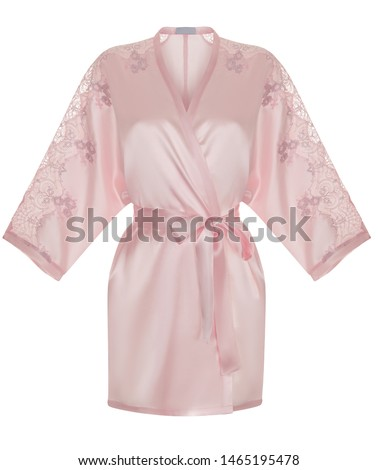 Beautiful luxurious female silk pink pajamas robe with lace, with belt and long sleeves, front view, clipping, ghost mannequin, isolated on white background #1465195478