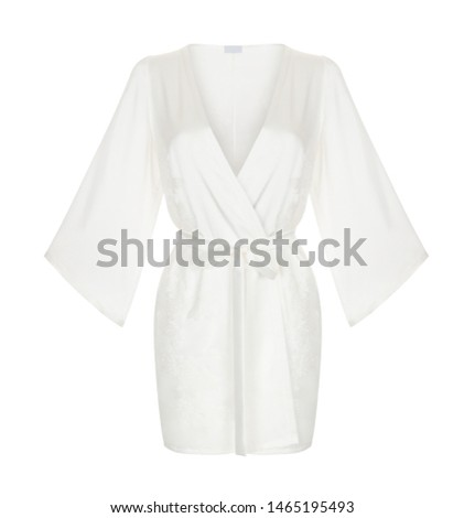 Beautiful luxurious female silk white pajamas robe with belt and long sleeves, front view, clipping, ghost mannequin, isolated on white background #1465195493