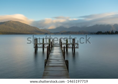 Sunset view of Lake Te Anau,New Zealand #1465197719