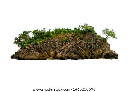 Island, rock, hill, mountain on white background isolated with clipping path. #1465250696