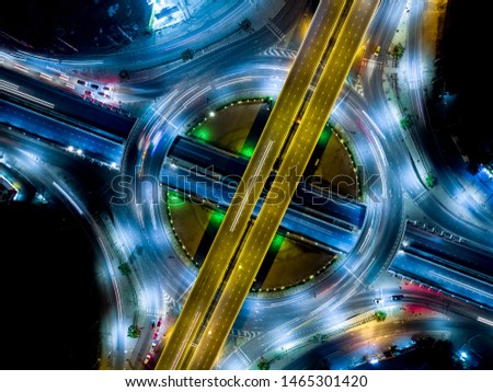 Modern transportation with Expressway, Road and Roundabout, multilevel junction highway-Top view. Important infrastructure. #1465301420