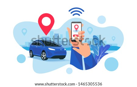 Vector illustration of autonomous wireless parking remote connected car sharing service controlled via smartphone app. Hands holding phone location mark of smart electric car in modern city skyline. #1465305536
