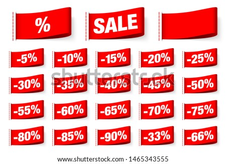 Set Of Red Textile Labels Sale With Seam #1465343555