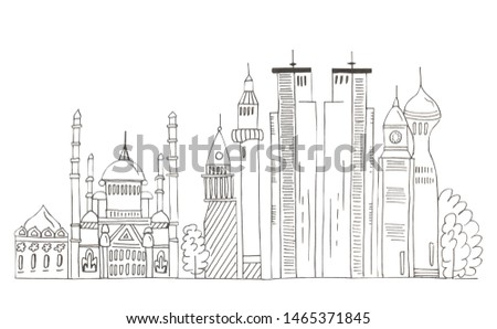 Illustration of sketch drawing black contour of skyline cities on a white isolated background. #1465371845