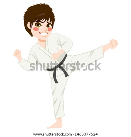 Young teenager black belt karate kid practicing kick exercise #1465377524