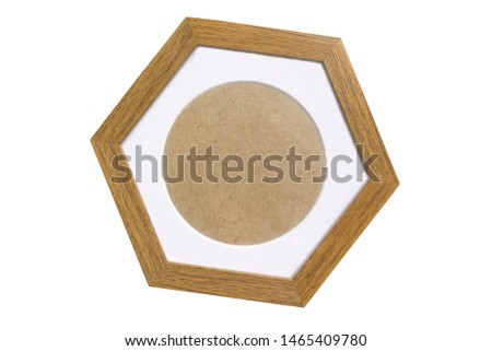 Textured wooden polygonal frame isolated on white background