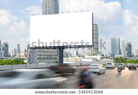 Billboard mockup outdoors, Outdoor advertising poster on the street for advertisement street city. With clipping path on screen. #1465413068