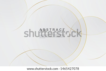 Modern abstract light silver background vector. Elegant circle shape design with golden line. Royalty-Free Stock Photo #1465427078