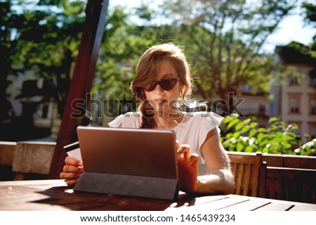 Young woman Paying online with credi card  #1465439234