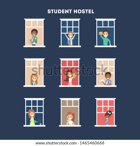 People looking out of the window in hostel set. Neighbors children in their apartment. Flat  illustration #1465460666