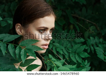beautiful woman in the leaves summer portrait #1465478960