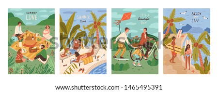 Set of flyers with people performing outdoor leisure activities - friends at picnic, couple sunbathing at swimming pool, surfers on tropical beach. Summer vacation cards. Flat vector illustration. #1465495391