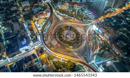 Aerial view of Victory Monument during the night time in Bangkok, Thailand #1465543343