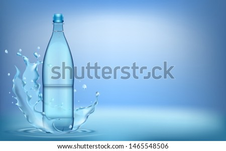 3D illustration. water splashes from plastic water bottle, with ripple and reflection.  #1465548506