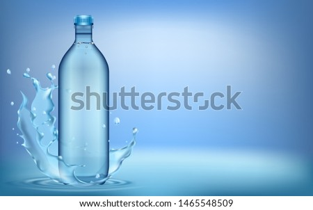 3D illustration. water splashes from plastic water bottle, with ripple and reflection.  #1465548509