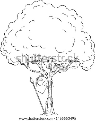 Vector cartoon stick figure drawing conceptual illustration of fearful or worried or afraid or curious native or prehistoric man hiding behind tree. #1465553495