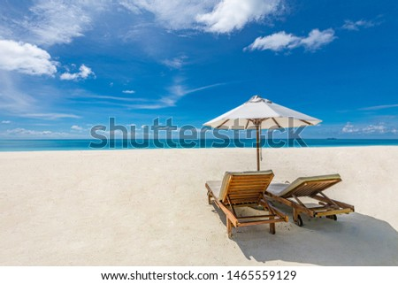 Summer travel banner. Design of summer vacation holiday concept. Perfect tranquil beach scene, soft sunlight and white sand and blue endless sea as tropical landscape. Idyllic couple destination #1465559129