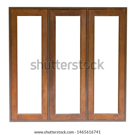 Wood window isolated on white background. Save with clipping path #1465616741