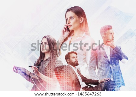 Team of diverse business people using gadgets and working with documents in city with double exposure of internet icons. Concept of smart city and teamwork. Toned image #1465647263