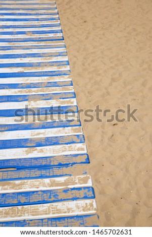 Plastic boardwalk on the sand, in the beach, known as La Concha, in San Sebastian city. #1465702631