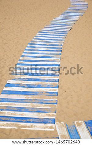 Plastic boardwalk on the sand, in the beach, known as La Concha, in San Sebastian city. #1465702640