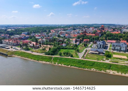 Aerial view of Tczew city over Wisla river in Poland #1465714625