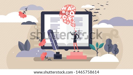 Poetry vector illustration. Flat tiny poem manuscript author person concept. Abstract literature writing and classic culture science. Historical ink feather usage and romantic old novel story document Royalty-Free Stock Photo #1465758614