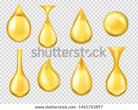 Realistic oil drops. Falling honey drop, gasoline yellow droplet. Gold capsule of liquid vitamin, dripping machine oil isolated clear nature transparent fuel motion vector #1465763897