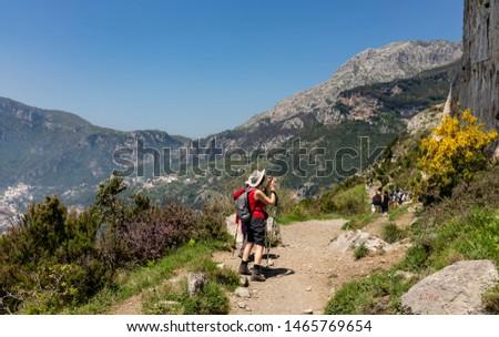 "Hiking trail ""Path of the Gods"" at Amalfi coast, Italy. #1465769654"