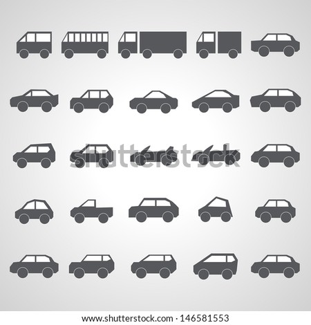 Car Icons Set - Isolated On Gray Background - Vector Illustration, Graphic Design Editable For Your Design.  #146581553