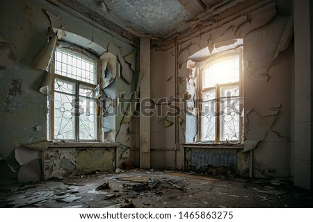 Abandoned house interior, dirty room, rotten peeled walls. #1465863275