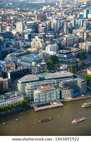 London, UK - July 23, 2019: Office buildings City of London and river Thames  #1465891922