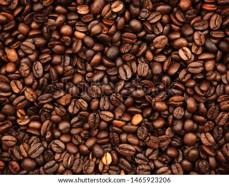 Closeup of roasted coffee beans #1465923206