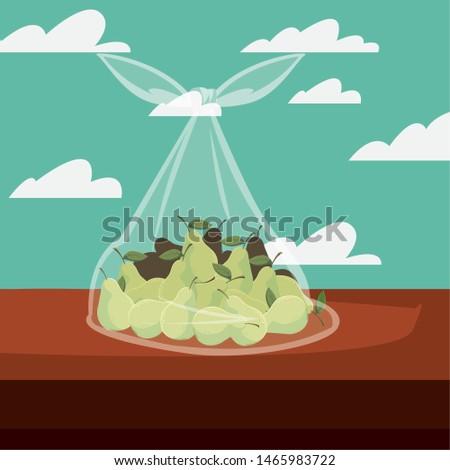 fresh fruit pears in bag plastic