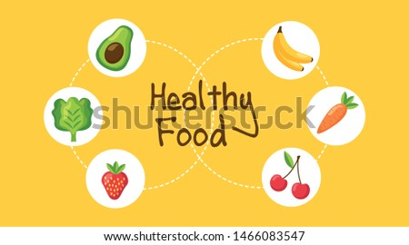 Healthy and organic food design, Fresh natural market product quality and eco theme Vector illustration #1466083547
