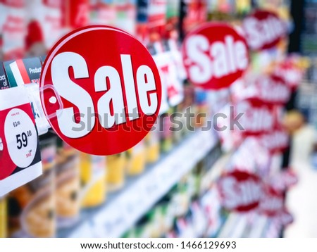 Sale Promotion Discount sign on Supermarket shelf Marketing Retail Business