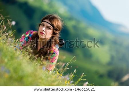 beautiful woman lying on the grass #146615021