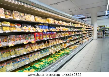 VENICE, ITALY - CIRCA MAY, 2019: interior shot of InterSPAR supermarket in Venice, Italy. #1466162822