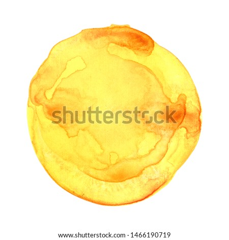 Watercolor sun isolated on white background. Sunset or rising sun illustration. Fire, tropical, flame colors round shape with watercolour stains.