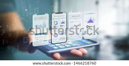 View of an Application interface UI on a smartphone - 3d rendering #1466218760