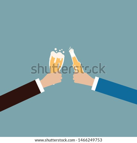 Business man celebrating party after working,flat vector design.  #1466249753
