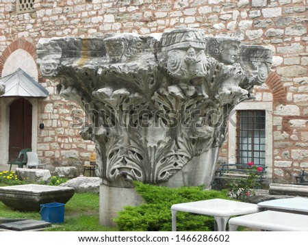 Travel view of Saint Sophie featuring capital stone Corinthian style. The image location is Istanbul in Turkey Europe, Europe. #1466286602